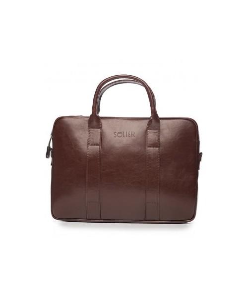 8d0bc09a0b25d torba męska Solier Elegancka torba skórzana na laptopa brąz kasztanowy