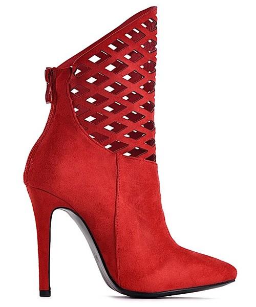 c83609aaac2ad Laza Czerwone ażurowe botki na obcasie, buty damskie - Butyk.pl