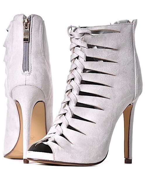 a9a6aa6b9aab50 Laza WIĄZANE szpilki damskie sandałki popielate, sandały na obcasie ...