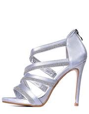sandały na obcasie Laza - SREBRNE szpilki sandały z kryształkami modne