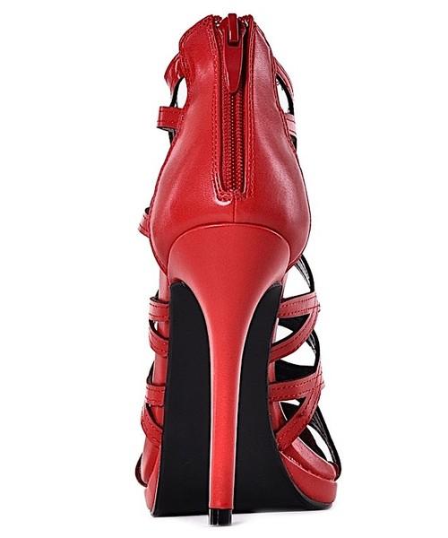 b94f6a7dc99d3 Laza Czerwone ażurowe buty damskie na obcasie, sandały na obcasie ...