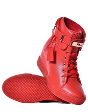 Buty damskie Czerwone sneakersy damskie na koturnie - laza.pl Laza