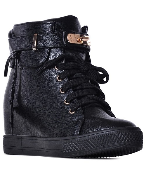 e2013744 Laza Czarne sneakersy damskie na koturnie, buty damskie - Butyk.pl