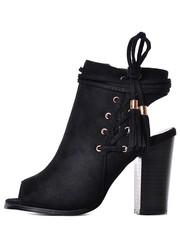 botki Laza - Czarne buty z odkrytymi palcami