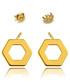 Kolczyki Missebo Złote sześciokąty sztyfty celebrytki - Srebro pozłacane