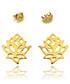 Kolczyki Missebo Złote kolczyki kwat lotosu sztyfty celebrytki - Srebro pozłacane