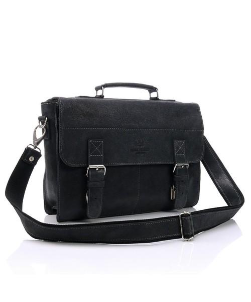 e89744a03934d torba męska Paolo Peruzzi Elegancka torba   teczka skórzana Vintage czarna