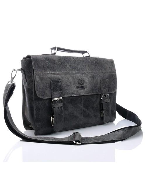 51f47af7ebcda torba męska Paolo Peruzzi Elegancka torba / teczka skórzana Vintage ciemny  szary