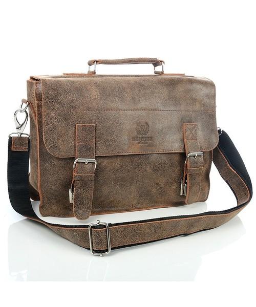 c0ede71735c87 torba męska Paolo Peruzzi Brązowa elegancka torba   teczka skórzana Vintage