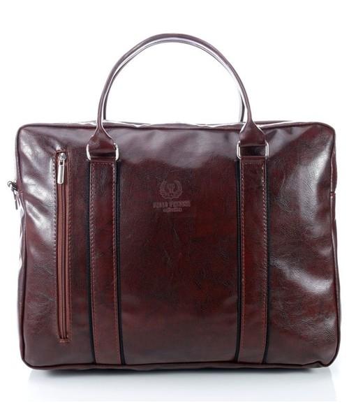 b6ab21170a764 torebka Paolo Peruzzi Elegancka torba codzienna na laptopa brązowa