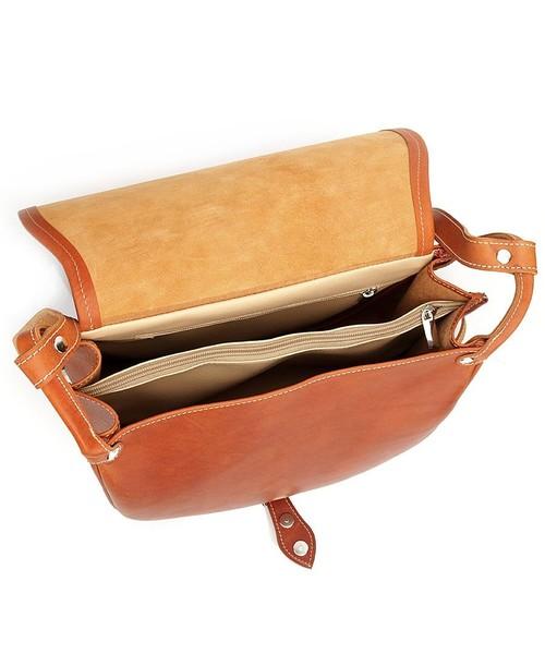 Półokrągła duża torebka listonoszka jasny brąz