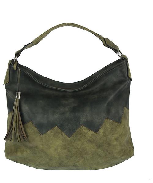 c517a1f995933 torebka Dudlin Pojemna miękka torebka worek z zieloną wstawką