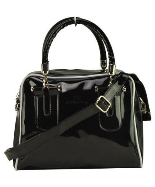bdb7243559070 kuferek EVANGARDA Czarna lakierowana torebka damska z dopinanymi rączkami  BLACK