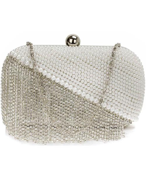 3dbf0b8309024 torebka EVANGARDA Kryształowa biała torebka wizytowa torebka wieczorowa