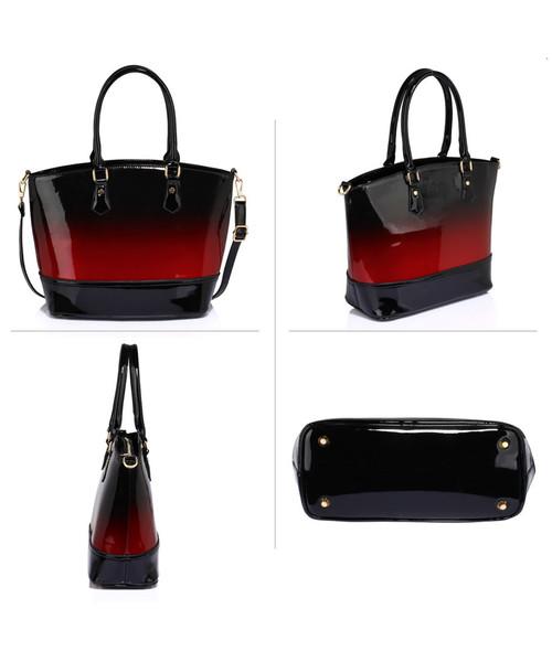 1cb1f2e2c8207 Torebka EVANGARDA Bordowo-czarna lakierowana torebka damska z cieniowanym  kolorem