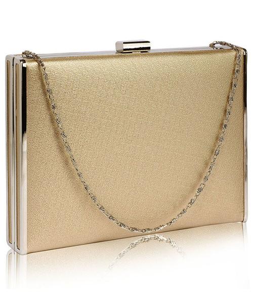 b445f60815acc torebka EVANGARDA Elegancka gładka torebka wizytowa kopertówka złota