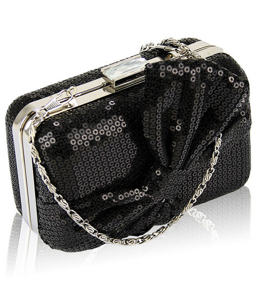 970d3c57709e6 EVANGARDA Czarna torebka wizytowa szkatułka z cekinami, torebka ...