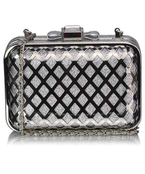 5f921208ec3f7 torebka EVANGARDA Luksusowa torebka wizytowa srebrna
