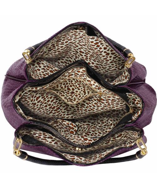 c8d961c4cc1d7 Torebka EVANGARDA Fioletowa lakierowana torebka na ramię skóra węża
