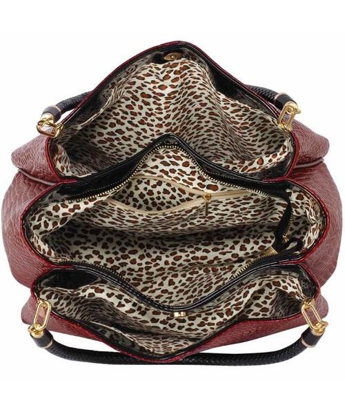 bb9193cea38d6 EVANGARDA Bordowa lakierowana torebka na ramię skóra węża, torebka ...