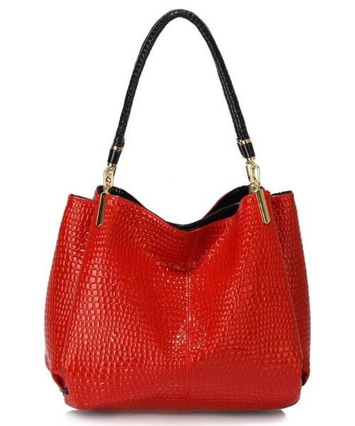 d270013079458 EVANGARDA Czerwona lakierowana torebka na ramię skóra węża, torebka ...