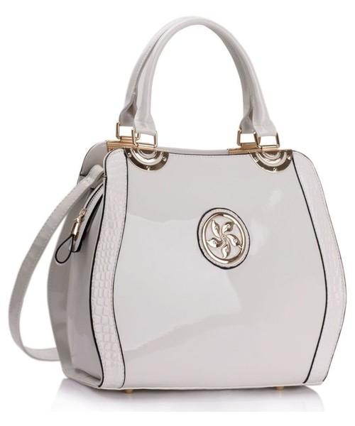 37aca230d5ce torebka EVANGARDA Elegancka torebka lakierowana z wężową wstawką ecru z  białym