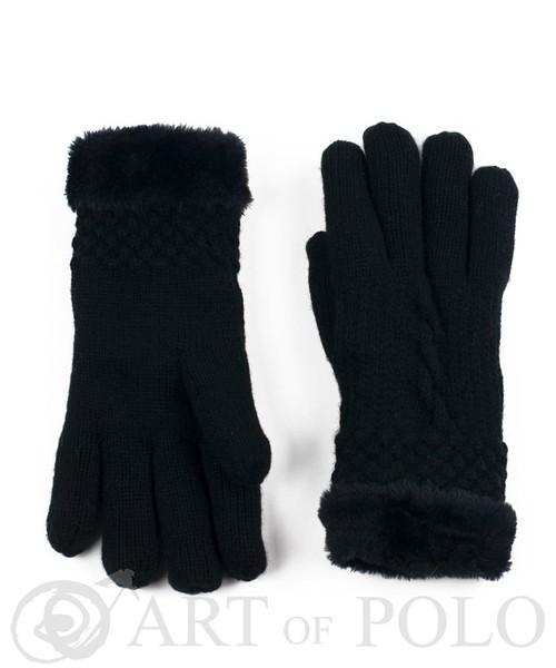 4a0e094f8edf9 rękawiczki EVANGARDA Czarne rękawiczki damskie z futerkiem i warkoczem