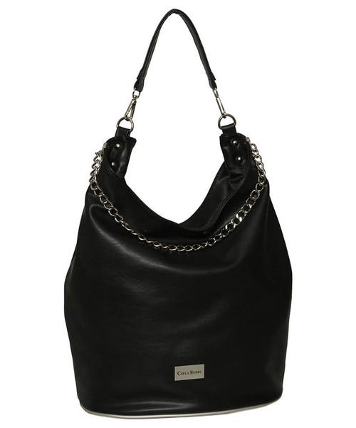 9907cf023c80c CARLA BERRY Czarna torebka damska na ramię z łańcuszkiem, torebka ...