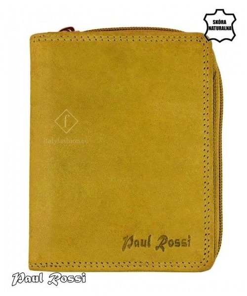 529b50dd1a5d9 portfel PAUL ROSSI Żółty portfel damski ze skóry naturalnej