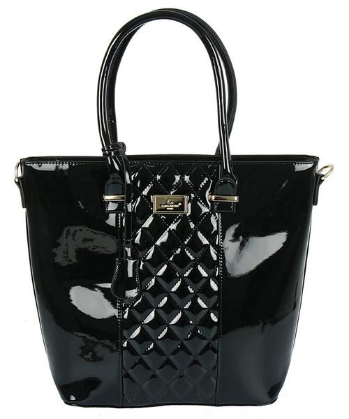 4b938b77747c1 torebka GALLANTRY PARIS Czarna lakierowana torebka z pikowaną wstawką