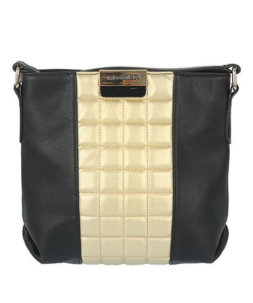 475f5c61066d2 MONNARI Czarna torebka listonoszka z pikowaną złotą wstawką, torebka ...