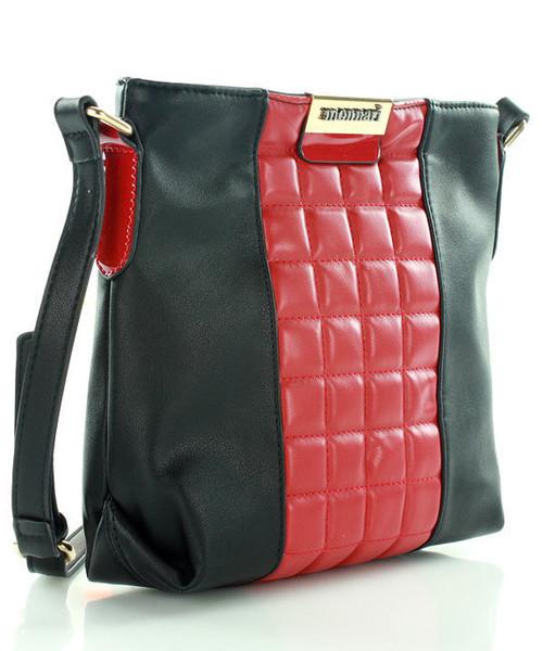 04b1d7c61a34a Torebka MONNARI Czarna torebka listonoszka z czerwoną pikowaną wstawką