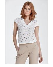 Bluzka Bluzka z modnym dekoltem w kształcie litery V - liście - Nife.pl Nife