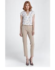 Spodnie Eleganckie spodnie z rozcięciem - beż - Nife.pl Nife