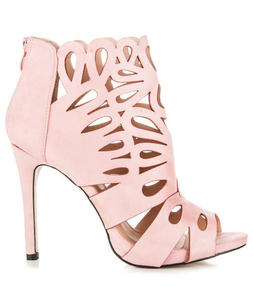 49bd6a4b3d602 Style Shoes Botki szpilki ażurowe różowe MELODY, botki - Butyk.pl