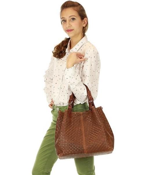 65e58c699f8d0 Shopper bag Mazzini Skórzana torebka shopper - Carina Treccia brązowa  MEREDITH