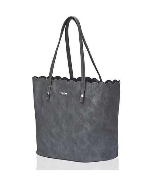 456cd8c3fbe80 Shopper bag Milton TORBA SHOPPER FALBANKA CIEMNY SZARY VIOLET