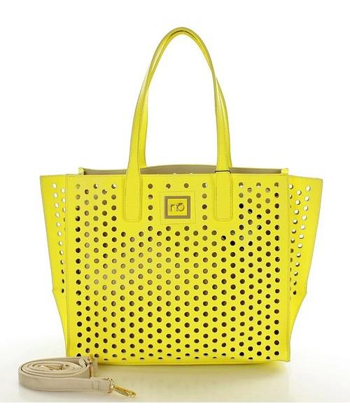 8737dab7c0ad6 Torebka NÕBO NOBO Ażurowy kuferek w grochy żółty