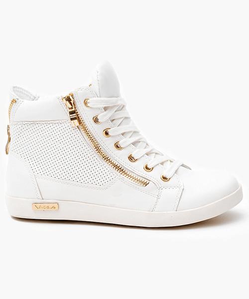 17eb5043606128 Merg Sneakersy ze złotym suwakiem Białe Trampki, trampki damskie ...