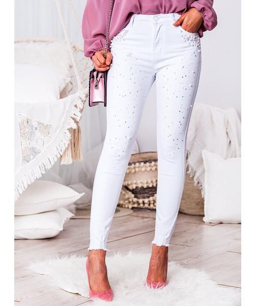 spodnie SELFIEROOM Jeansy denim z perełkami i diamentami białe