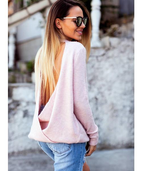 Ogromny SELFIEROOM Sweterek RILEY - pudrowy róż, sweter - Butyk.pl NI02