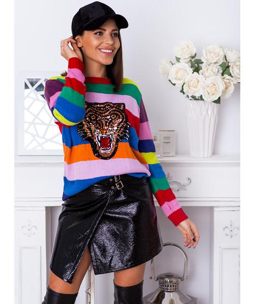 4fbd5c3df70e6a SELFIEROOM Sweter w kolorowe paski LION, sweter - Butyk.pl