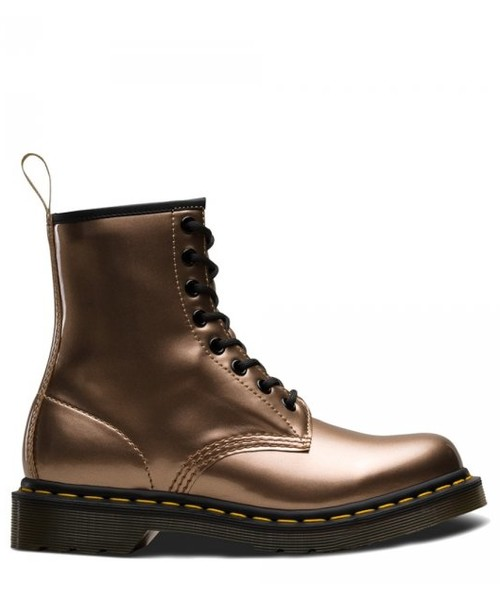 wysoka moda nowy haj eleganckie buty botki Dr. Martens Buty VEGAN 1460 Rose Gold Chrome Metallic 24865040