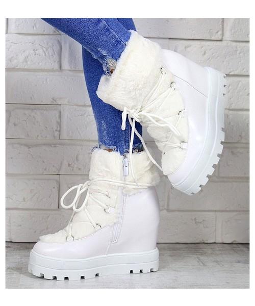 c611f9b02 Buu.pl Sneakersy Białe Śniegowce Na Koturnie 7169, trampki damskie ...