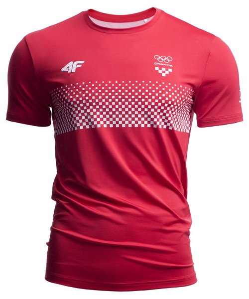 9e605e0b4 T-shirt - koszulka męska 4F Koszulka funkcyjna męska Chorwacja Pyeongchang  2018 TSMF750 - czerwony