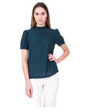 Bluzka Zielona elegancka bluzka z krótkim rękawem oraz zdobieniem na przodzie - Bialcon.pl Bialcon