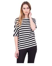 Bluzka Czarno-biała bluzka typu nietoperz w poziome pasy - Bialcon.pl Bialcon