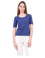 Bluzka Niebieska bluzka z głębokim dekoltem oraz krótkim rękawem - Bialcon.pl Bialcon
