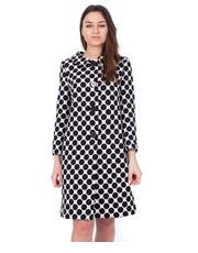 Płaszcz Czarno-biały długi płaszcz w drobne wzory - Bialcon.pl Bialcon