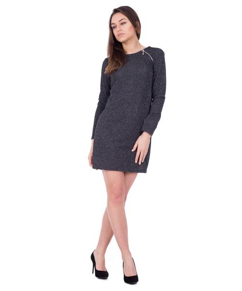 5ecc00e0b3 Sukienka Bialcon Szara dopasowana sukienka z długim rękawem